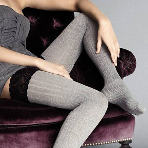 """Opaque Thick Hold ups Stockings """"Costina II"""" 60 Denier - silicone lace top"""
