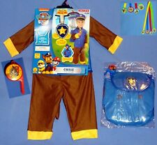 Chase Paw Patrol Costume 2T-3T;Policeman-Brown Dog-Hat-Pack-Whistle-Medals-LOT-8