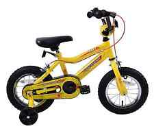 "Spider Boys 14"" Wheel Spiderman Style Kids BMX Bike Yellow & Stabilisers Age 4+"