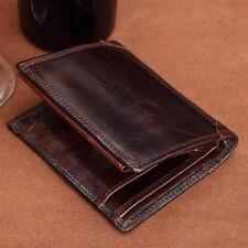 Vintage Men Genuine Leather Bifold Wallet Credit ID Card Holder Money Clip Purse
