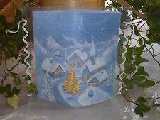 Tischlicht/Windlicht - Dorf im Schnee -  Weihnachten/Winter