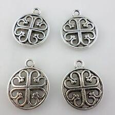 14pcs Tibetan Silver Round Hollow Flower Charms Pendants 14*17mm