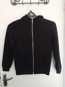 Boy's Primark Black Zip Up Hooded Sweatshirt Top Age 10 - 11 Years.
