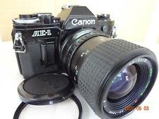 Near Mint Canon AE-1 SLR Camera black,w/Tokina 35-70/f4 lens,filter Japan 2392