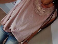 Cotton Glitzer Shirt L 42 Blogger Top Baumwolle Bluse Vintage Pailletten Chic 40