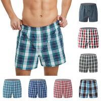 Men's Casual Shorts Plaid Printed Boxer Brief Pouch Underpants Soft Undershorts