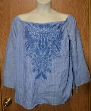 Womens Embroidered INC International Concepts 3/4 Sleeve Shirt Size 0X NWT NEW
