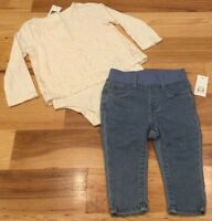 Baby Gap Girls 3-6 Months Outfit. Cream Lace Shirt & Light-Wash Denim Jeans. Nwt