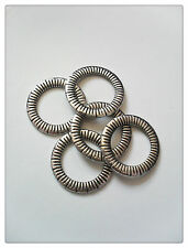 5 x Tibetan Silver Plated Connector Rings - Striped - 24mm