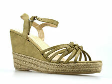 Ladies Womens Mid Wedge Heel Espadrille Ankle Strap Summer Sandals Shoes Size UK 6 Tan Khaki