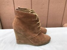 Steve Madden DANNI Cognac Suede WEDGE Heel Lace-up Ankle BOOTIES Size US 7M A1