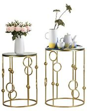 Decorative Gold Nesting End Table Side Table Nightstands With Glass Tabletop