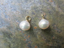 14 KT Yellow Gold & Paspaley South Sea Pearl Add to Hoop Earring Charm NEW 12MM