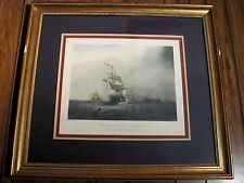 """Framed & Mounted Vintage Lithograph of S. Walter's """"Homeward Bound"""" Ship"""
