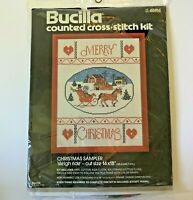 Bucilla Counted Cross Stitch Kit  #48814 - Christmas Sampler Sleigh Ride Vintage