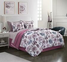 8 Piece Bed in a Bag Bedding Set Queen Purple Floral Complete Sheets