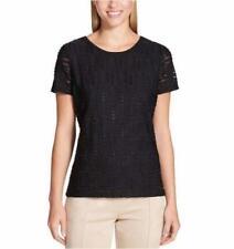 Calvin Klein Ladies' Stretch Textured T-Shirt Tee - Black - Medium M