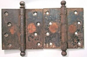"""2 Mortise Barn Door Ball Tip Hinges 4"""" Square Rusted Aged Copper Plated Antique"""