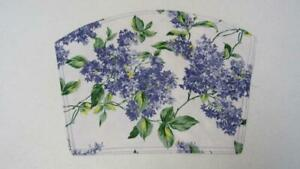 Vinyl Wedge Placemat Purple Lilacs Green Leaves w/ White Background NEW