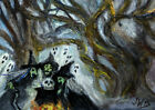 Original ACEO Art Halloween Witch Ghost, Black Cat, Twisted Tree