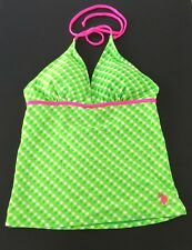 NWT SWIMSUIT U.S. Polo Assn. Hot Pink and Green Tankini Top Womens Juniors Large
