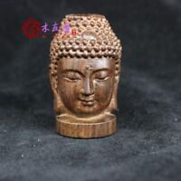 Old China Tibet carvings of Buddha head Statues Collectibles Buddha Religion 7CM