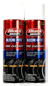 2 Cans Black Magic 15 Oz Bleche-Wite Fast Acting Formula Tire Cleaner Spray