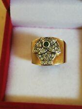 Antico Anello In Oro 12 Kt, Smeraldo, Diamanti