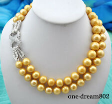 "2strands 20"" 15mm round golden freshwater pearl necklace"