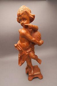 Holzfigur Putto Honiglecker Engel geschnitzt natur ca. 42 cm