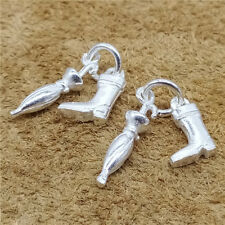 3 Sterling Silver Umbrella and Boot Charms 925 Silver for Bracelet Necklace