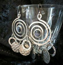 Vintage Earrings silvertone Cat's Eye Chandelier Onyx Bead hammered Coachella