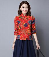 Womens Chinese Style Linen Blouse Slim Tops Long Sleeved Folk-custom Cheongsam