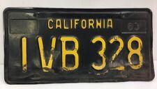 VINTAGE -1963 CALIFORNIA LICENSE PLATE (~ IVB 328 ~) FREE SHIPPING