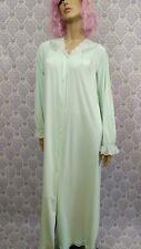 Vtg Shadowline Peignoir Long Button Front Nightgown Size M Pale Green Lace Trim