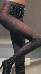 Leg Avenue Fashion Lurex Black Zebra Tights One Size Sexy Costume
