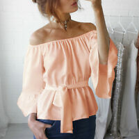 Womens Chiffon Summer Off Shoulder Bell Sleeve Strapless Wrap Waist Tops Blouse