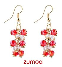 Bohemian Luxury Crystal Beads Tassel Earrings by ZUMQA (WHITE RED)