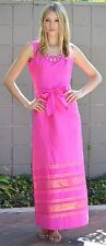 Exquisite Vintage 60s 70s Womens Hot Pink Gold Long Maxi Gown Belt Dress, XS