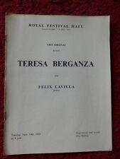 TERESA BERGANZA OPERA PROGRAMME 1960