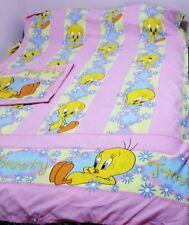 GIRLS TWEETY BIRD DOONA DUVET QUILT COVER + P/CASE SET SINGLE BED PINK EXC RARE