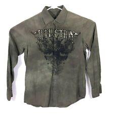Affliction Mens Medium Long Sleeve Graphic Button Up Shirt