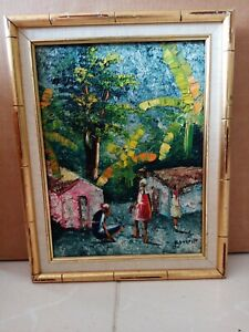 "Vintage Haitian Oil Painting-VJoseph-c1965-12x16""-Village Life-Haiti-Framed"