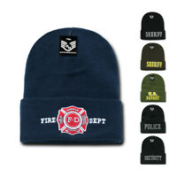 Police Fire Dept Security Sheriff Border Patrol Long Cuffed Warm Winter Beanies