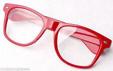 RETRO Vintage Men Women Unisex Nerd Frame Trendy Clear Lens Eye Glasses RED