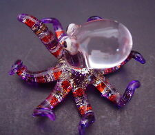 Glass OCTOPUS SQUID Purple Patterned Glass Ornament Decorative Glass Animal Gift