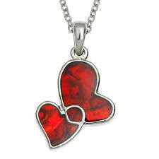 Entwined Heart Necklace with Red Paua Shell. Hypoallergenic. Boxed. By Tide.