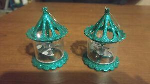 Pair Green Spinner Glittery Birdcage Plastic Ornaments