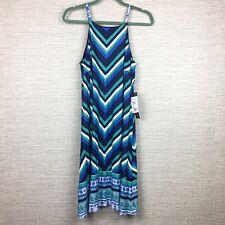 Luxology Women's Sz M Dress Blue Striped Halter Neck New