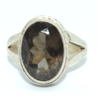 Sterling Silver Traditional Asian Vintage Style Smoky Quartz Ring Size M1/2 Gift